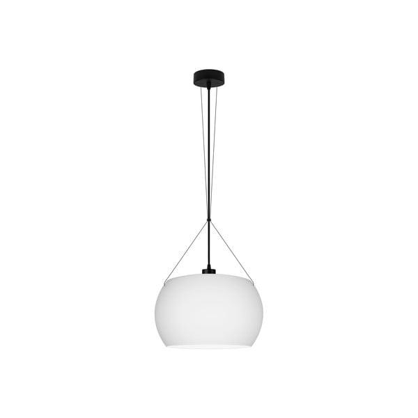 Biele matné závesné svietidlo s čiernym káblom Sotto Luce MOMO