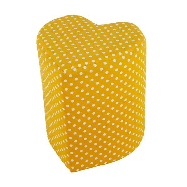 Puf v tvare srdca soya, žltý