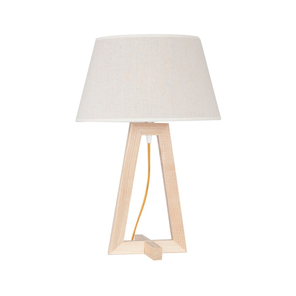 Stojacia lampa s drevenou základňou Olie