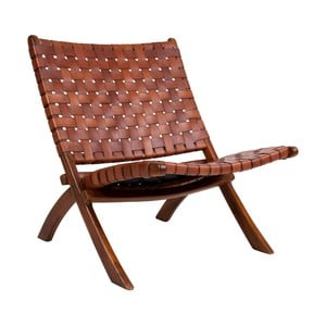 Skladacia stolička z teakového dreva a kože House Nordic Montana