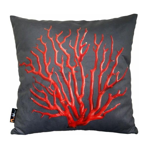 Vankúš Red Coral on Grey, 45x45 cm