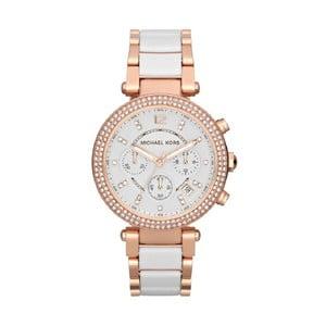 Dámske biele hodinky s detailmi vo farbe ružového zlata Michael Kors Hanah