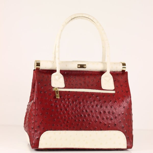 Kožená kabelka Rosalind, červená/biela