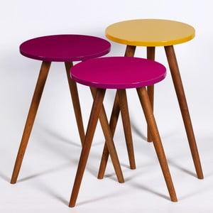 Sada 3 odkladacích stolíkov Kate Louise Round (fialový, tmavofialový, žltý)