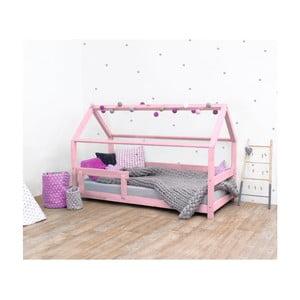 Ružová detská posteľ s bočnicami zo smrekového dreva Benlemi Tery, 90×200 cm