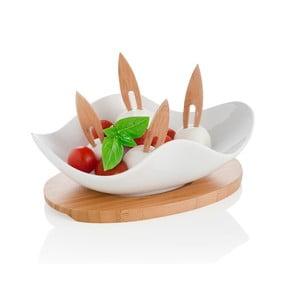 Servírovacia miska s podnosom a 4 napichovadlami Brandani Nuvola