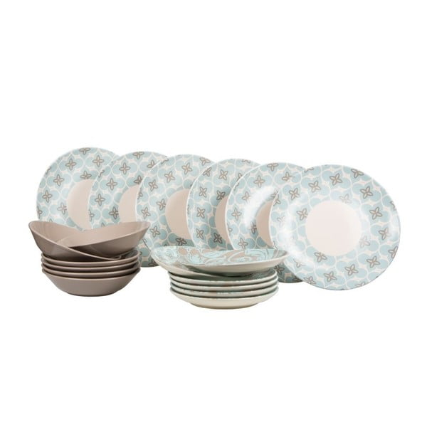 Sada 18 ks keramických tanierov Madeleine Blue