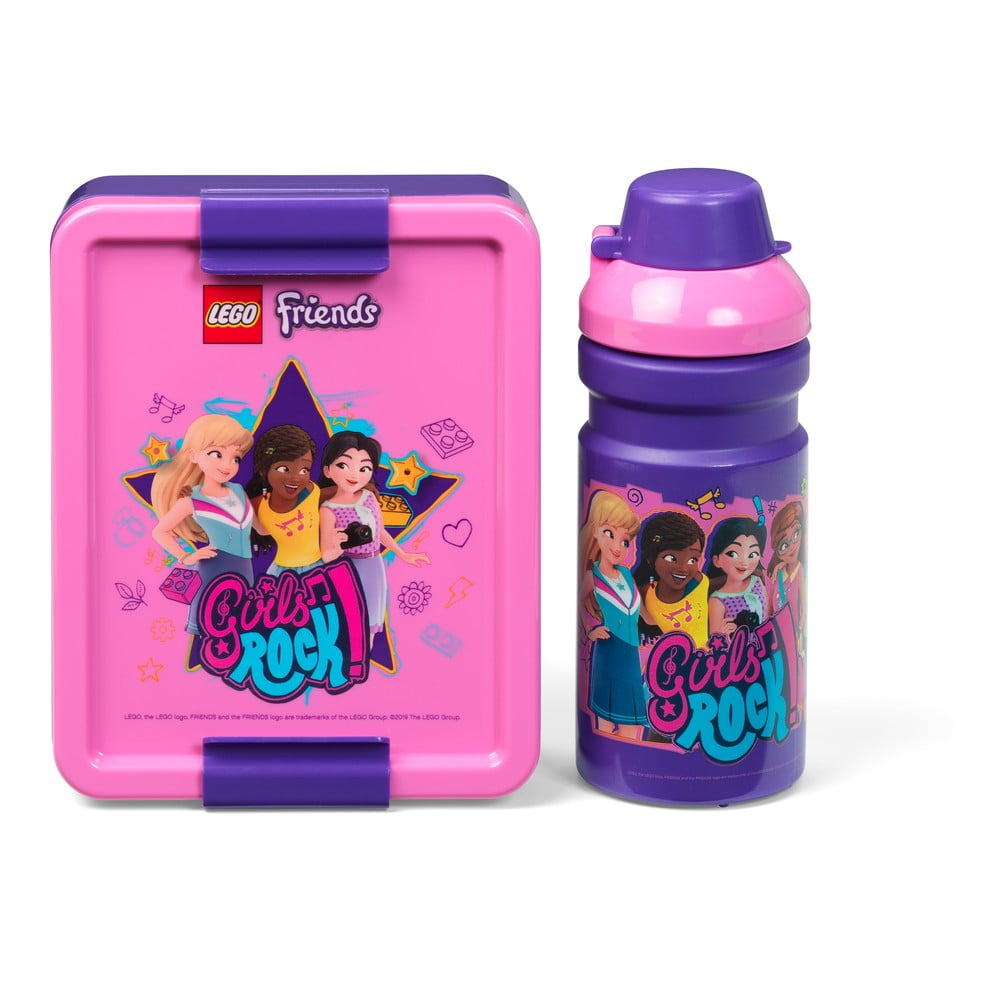Set fľaše na vodu a boxu na desiatu LEGO® Friends Girls Rock