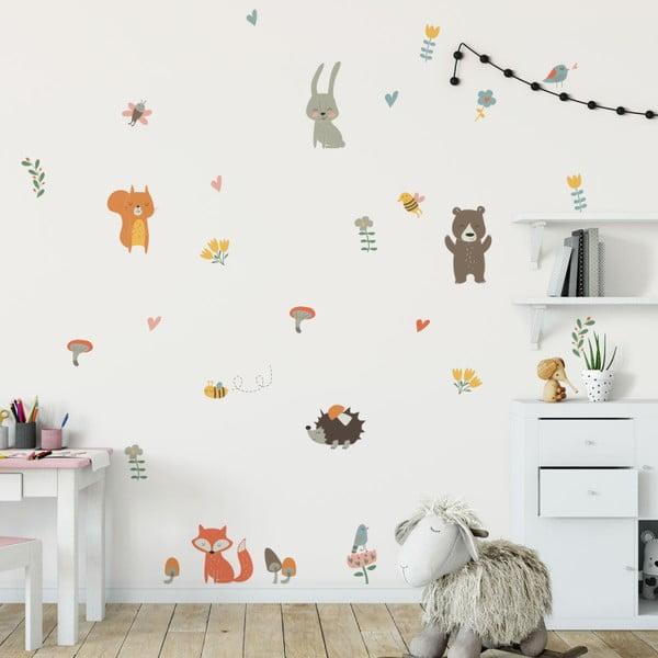 Sada nástenných detských samolepiek Ambiance Funny Scandinavian Animals
