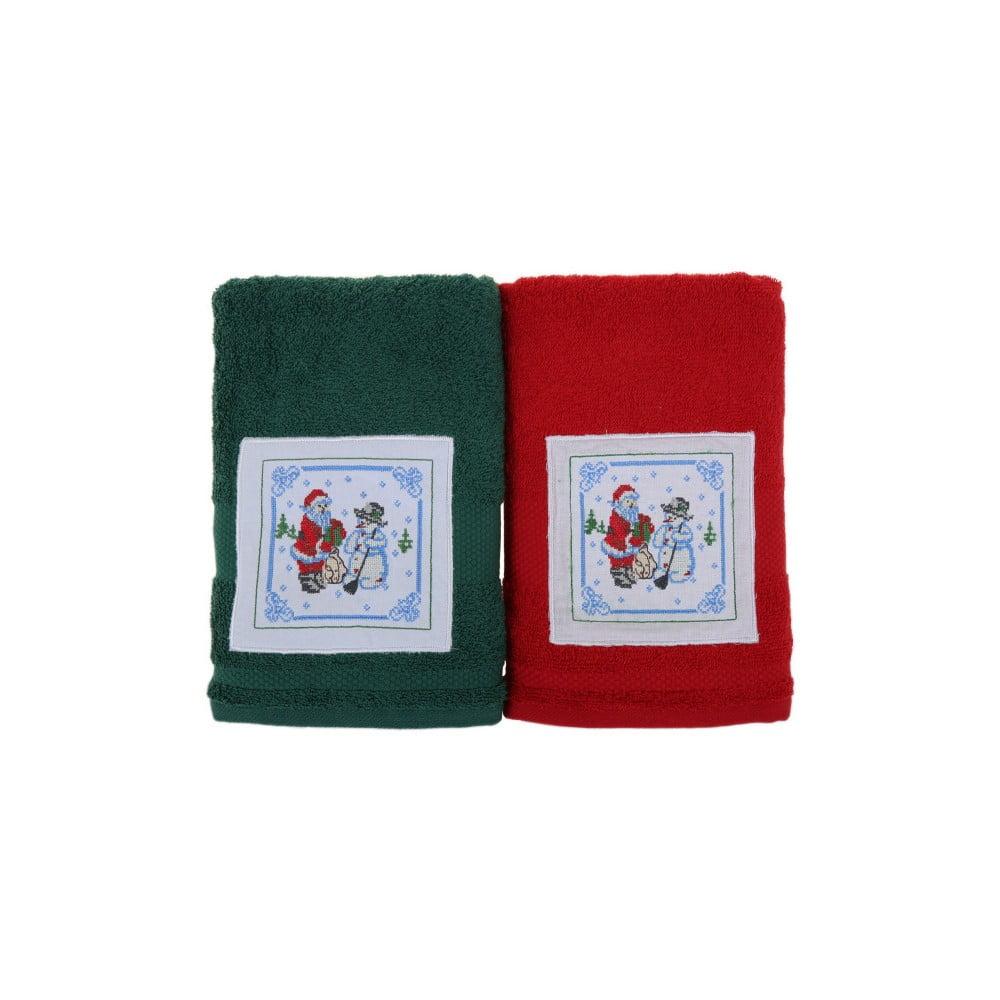 Sada 2 uterákov Kardan Adam Red & Green, 50 x 100 cm