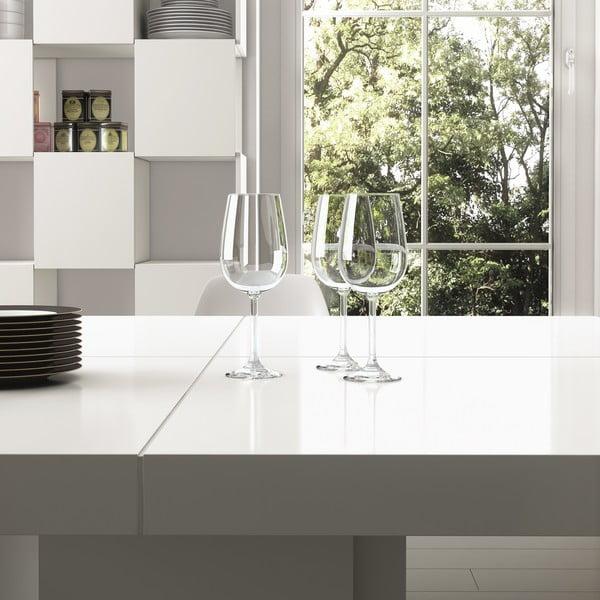 Lesklý biely jedálenský stôl TemaHome Dusk, 130 cm