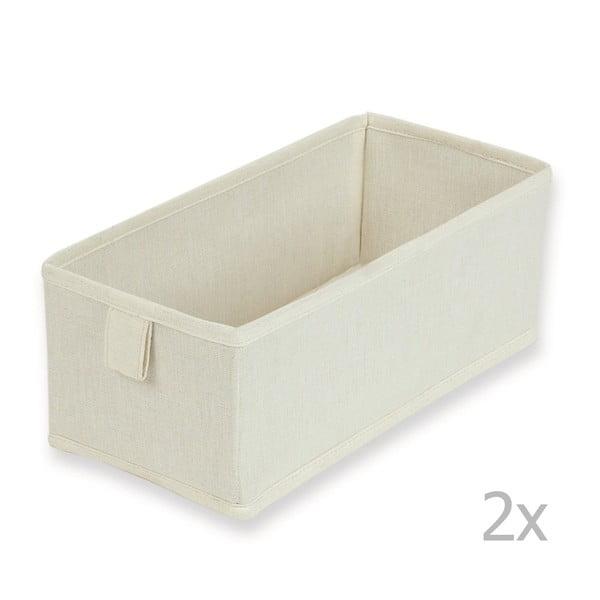 Sada 2 textilných zásuviek/boxov Drawer Natural,13x28cm