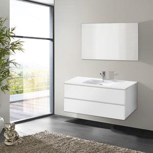 Kúpeľňová skrinka s umývadlom a zrkadlom Flopy, odtieň bielej, 100 cm