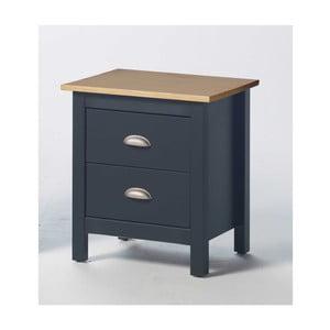 Sivý nočný stolík zborovicového dreva s 2 zásuvkami SOB Jayde