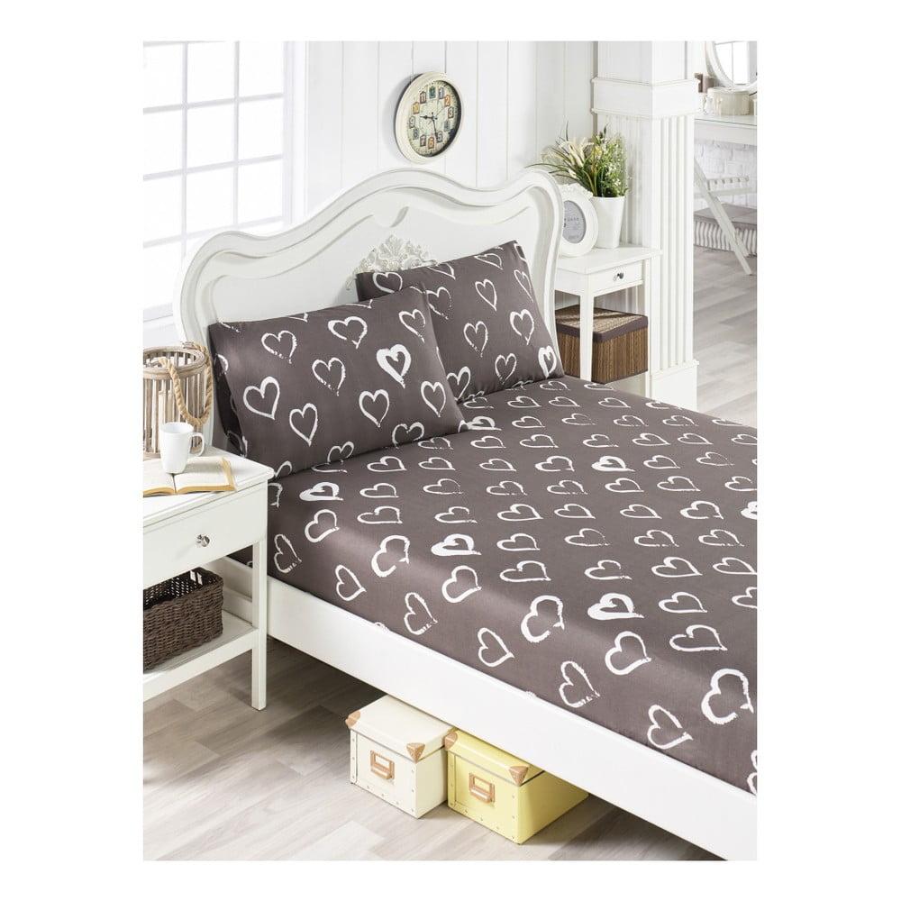 Set hnedej plachty a 2 obliečok na vankúše na jednolôžko Hearts Lusno, 160 × 200 cm