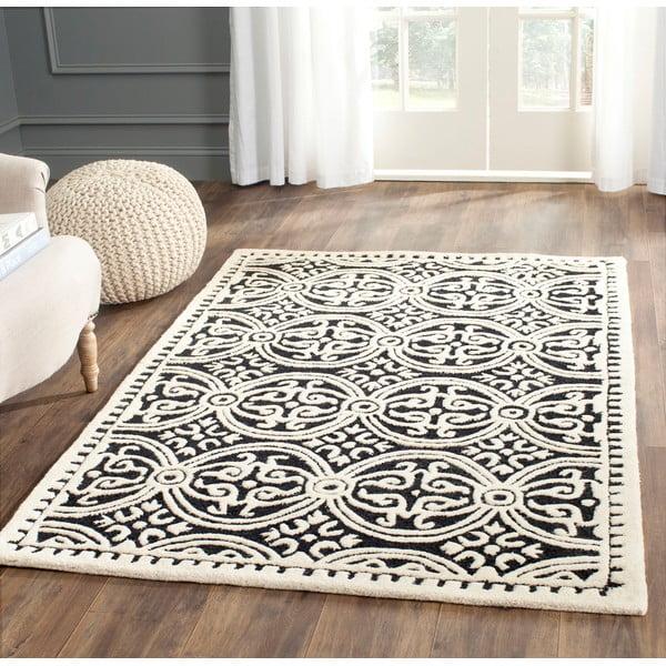 Vlnený koberec Marina 76x243 cm, černý