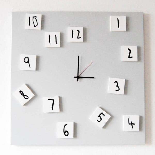 Nástenné hodiny dESIGNoBJECT.it Changing Clock White, 50 x 50 cm