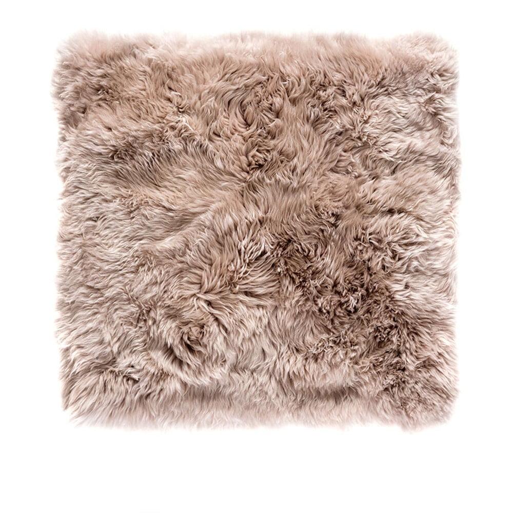 Svetlohnedý štvorcový koberec z ovčej vlny Royal Dream Zealand, 70 × 70 cm