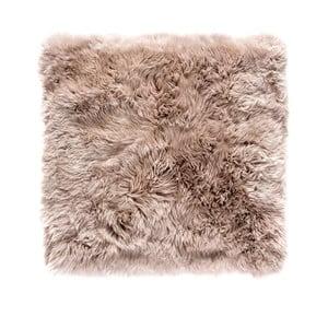 Svetlohnedý štvorcový koberec z ovčej vlny Royal Dream Zealand, 70×70cm