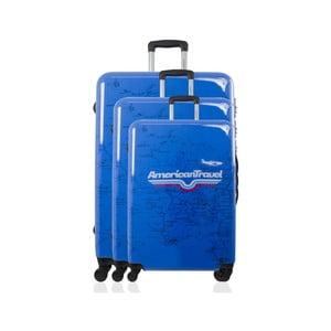 Sada 3 modrých cestovných kufrov na kolieskach American Travel