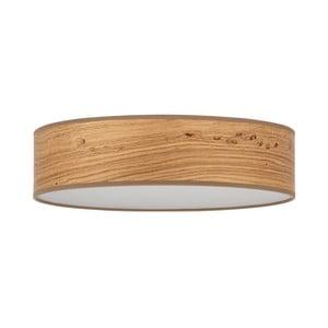 Svetlohnedé stropné svietidlo s tienidlom z prírodnej dyhy Bulb Attack Ocho, ⌀ 40 cm