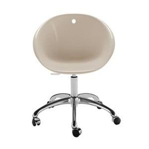 Béžová stolička na kolieskach Pedrali Gliss
