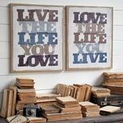 Nástenná dekorácia Love/Live, 2 ks