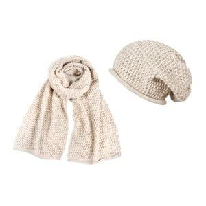 Krémová čiapka so šálom Lavaii Elegant