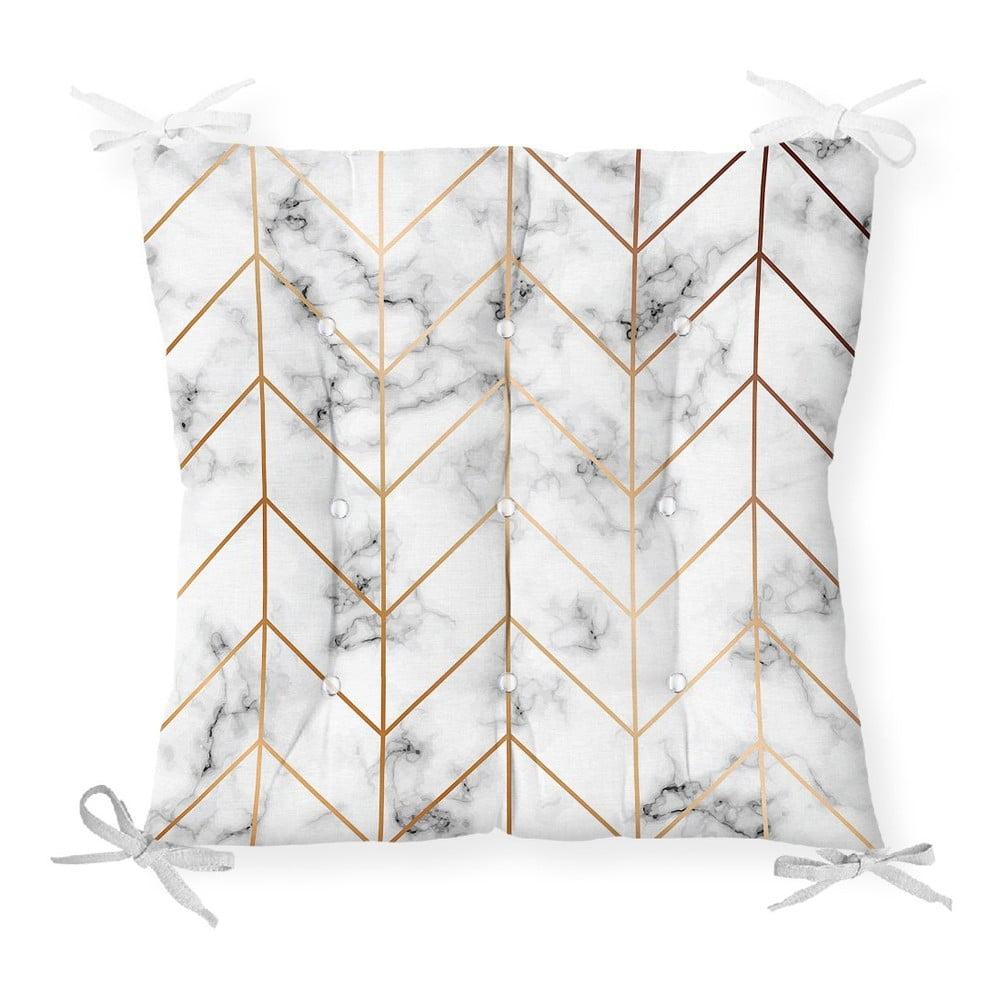 Sedák na stoličku Minimalist Cushion Covers Gray Gold Marble, 40 x 40 cm