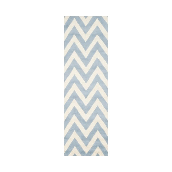 Vlnený koberec Stella Light Blue, 76x243 cm