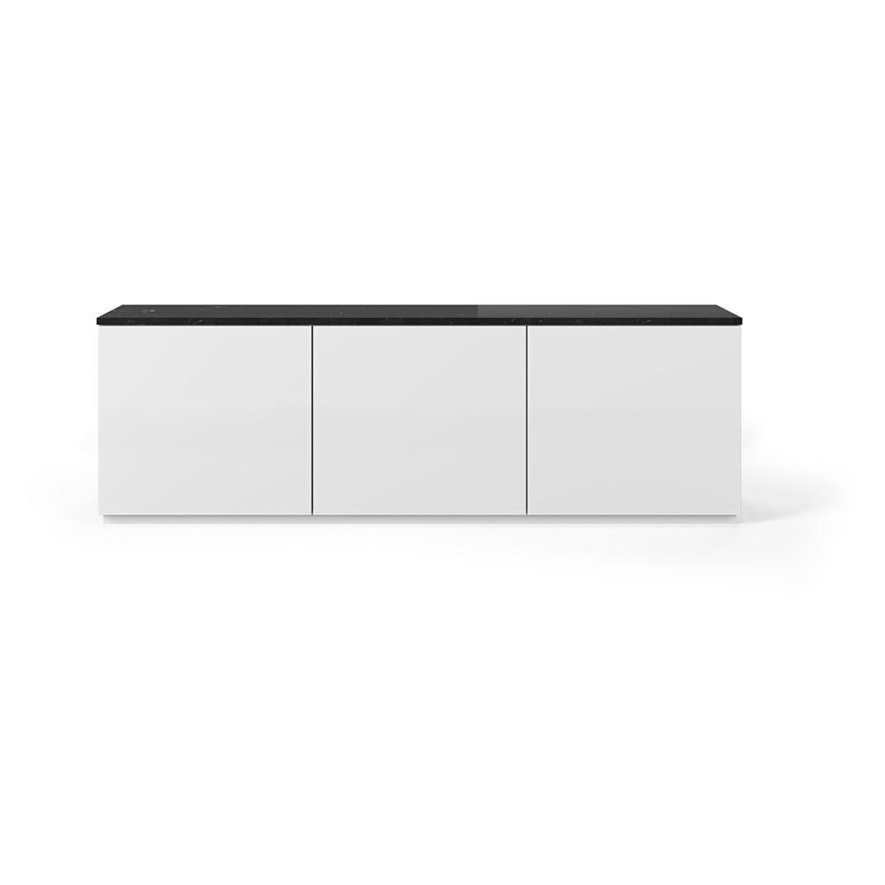 Biely televízny stolík so svetlou doskou v mramorovom dekore TemaHome Join, 180 × 57 cm