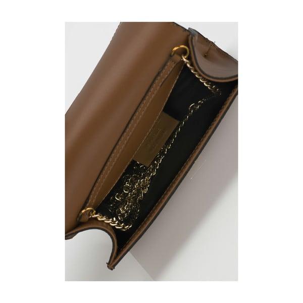 Koňakovohnedá kožená kabelka Massimo Castelli Anys
