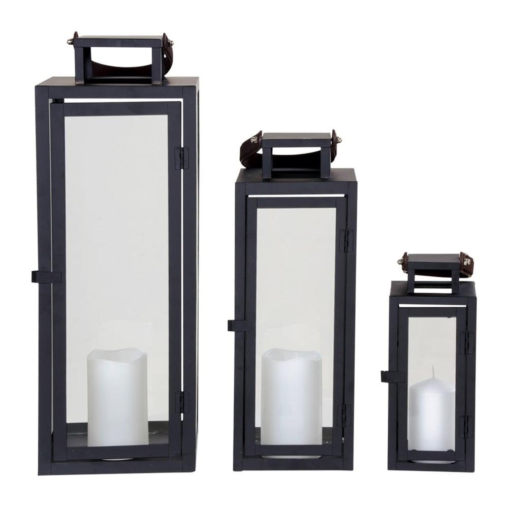 Sada 3 čiernych lampášov House Nordic Botin