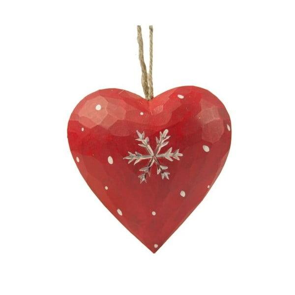 Závesná dekorácia Antic Line Heart with snowflake in red