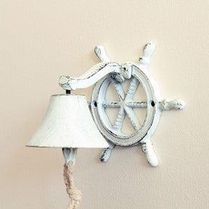 Liatinový nástenný zvonček Sea, biely