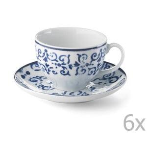 Sada 6 porcelánových šálok Antico Blue, 200 ml