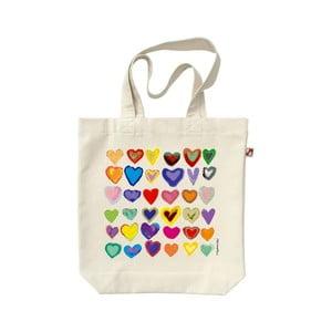 Plátenná taška Dúhové Srdce