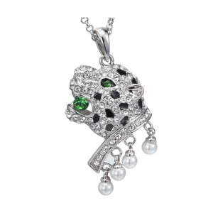 Náhrdelník so zelenými krištáľmi Swarovski Elements Crystals Panther