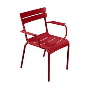 Červená záhradná stolička s opierkami Fermob Luxembourg