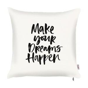 Biela obliečka na vankúš s dekorom v čiernej farbe Apolena Dreams, 43 x 43 cm