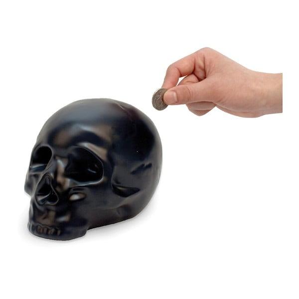Čierna keramická pokladnička Kikkerland Coin Skull