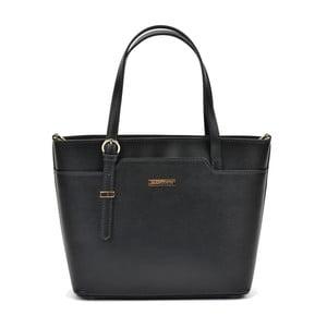 Čierna kožená kabelka Mangotti Hannah Lento