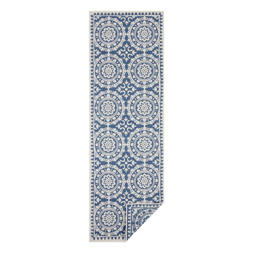 Modro-krémový vonkajší koberec Bougari Jardin, 80 x 350 cm