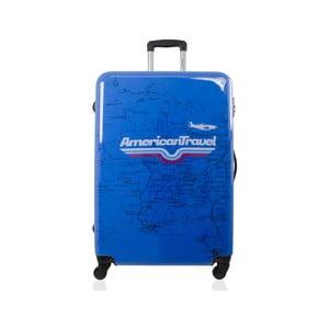 Modrý cestovný kufor na kolieskach American Travel, 75l