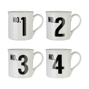Sada 4 hrnčekov z kostného porcelánu Premier Housewares Numbers, 342 ml