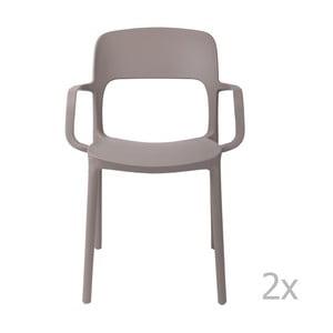 Sada 2 stoličiek D2 Flexi, s opierkami, sivé
