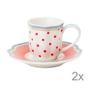 Porcelánová šálka na espresso s tanierikom Happy Dot od Lisbeth Dahl, 2 ks