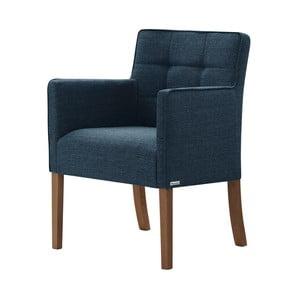 Denimovomodrá stolička s tmavohnedými nohami Ted Lapidus Maison Freesia