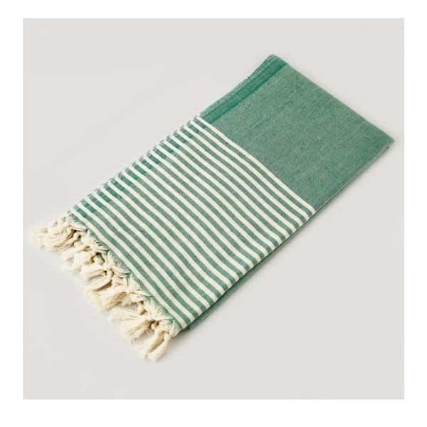 Zeleno-biela osuška s pruhmi Hammam Marine Style, 100 x 170 cm
