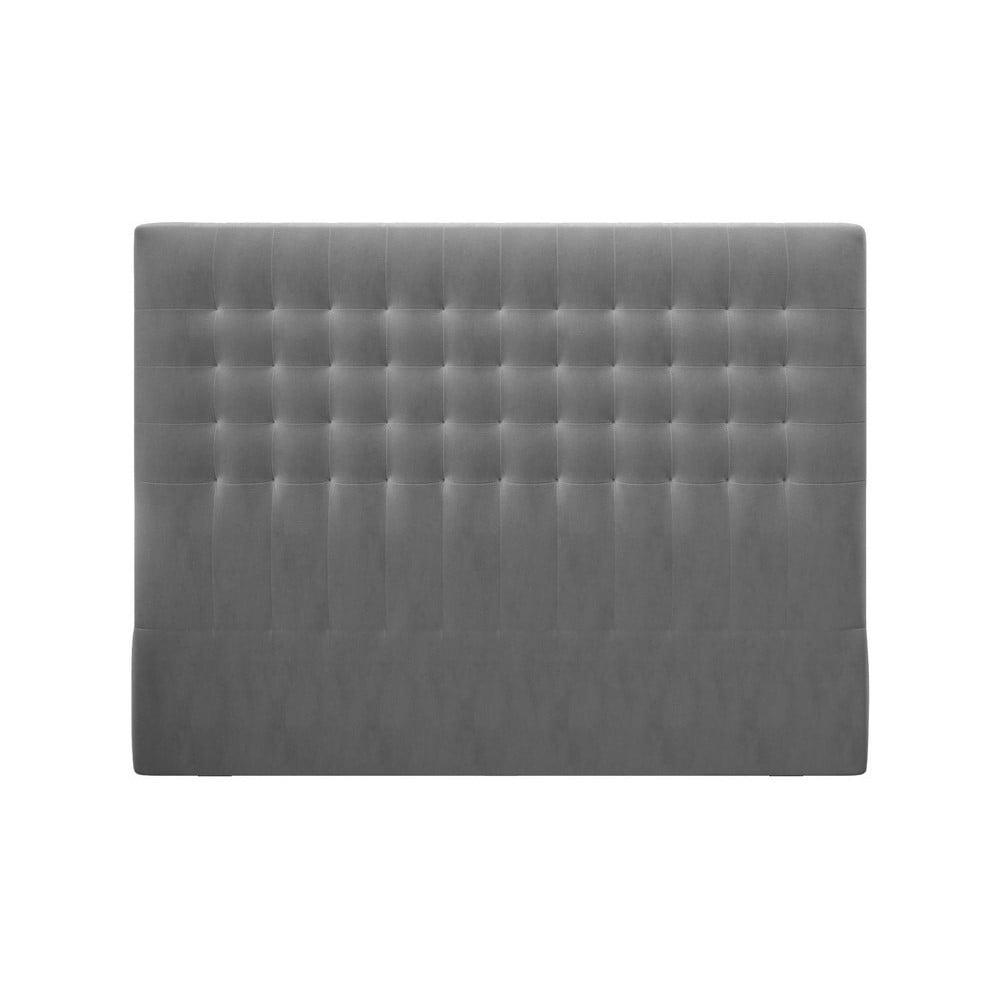 Sivé čelo postele so zamatovým poťahom Windsor & Co Sofas Apollo, 140 × 120 cm